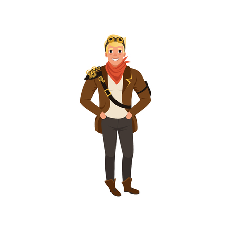 Smiling steampunk guy standing with hands in pockets. Man in shirt, pants, brown jacket, red bandanna on neck and vintage goggles. Flat vector