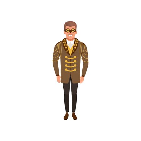 Smiling man in steampunk costume. Guy in jacket with golden chains and gears, shirt, pants and vintage goggles. Flat vector design