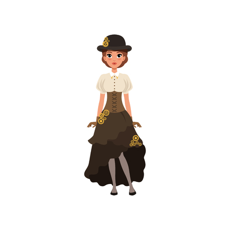 Charming girl in steampunk costume. Woman in blouse, skirt with bustle, corset and bowler hat with gears. Fancy outfit. Flat vector design