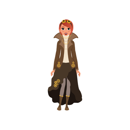 Red-haired steampunk woman. Young girl in blouse, jacket and skirt with chains and gears, boots with lacing and vintage goggles on head. Flat vector Illustration