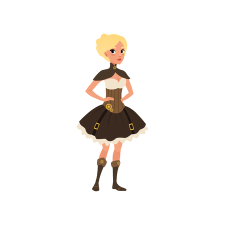 Steampunk woman posing with arms akimbo. Fancy dress for Halloween party. Young girl in top, corset, skirt and boots. Flat vector design