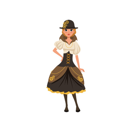 Young steampunk girl. Woman in blouse, corset, skirt with bustle and bowler hat with gears. Fashion dress of Victorian era. Flat vector Illustration