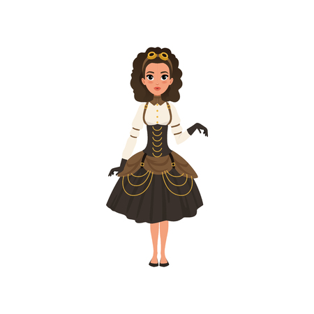 Young girl in steampunk costume. Woman in blouse, gloves, vintage goggles on head, corset and skirt with golden chains. Flat vector 向量圖像