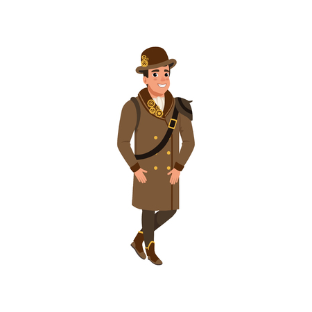 Gentleman in steampunk outfit. Young man wearing shirt, long brown coat, boots and bowler hat with gears. Flat vector design
