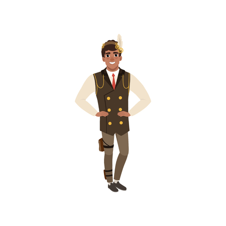 Guy in steampunk costume posing with arms akimbo. Man in shirt, tie, vest with chains, pants and headband with gears and feather. Flat vector