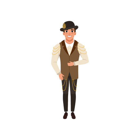 Steampunk man. Young guy in shirt, pants, vest with chains and bowler hat with gears. Costume for festival. Flat vector design
