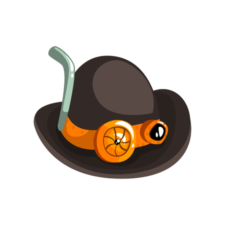 Steampunk black retro hat, antique mechanical device or mechanism vector Illustration isolated on a white background.