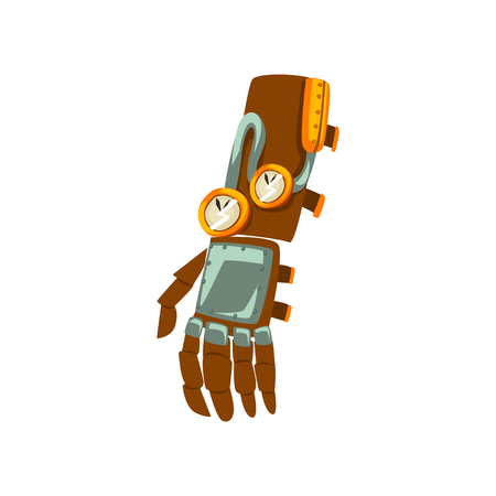 Steampunk mechanical hand, antique device vector Illustration isolated on a white background.