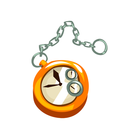 Steampunk pocket watch, antique mechanical device or mechanism vector Illustration isolated on a white background. Illustration