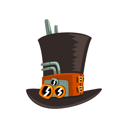 Steampunk top hat, antique mechanical device or mechanism vector Illustration isolated on a white background.