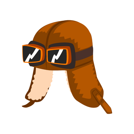 Steampunk aviator helmet with goggles vector Illustration isolated on a white background. Vettoriali