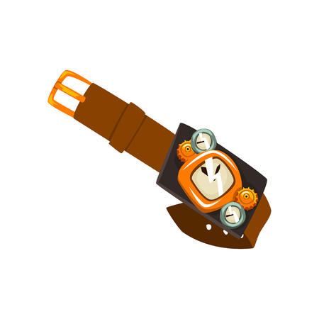 Steampunk wrist watch, antique mechanical device or mechanism vector Illustration isolated on a white background. Illustration