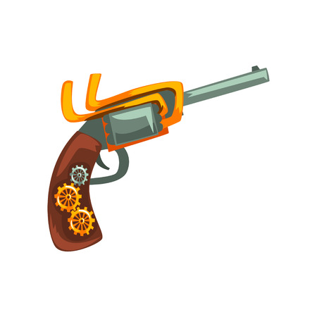 Steampunk revolver, design element, antique mechanical device vector Illustration isolated on a white background. Ilustrace