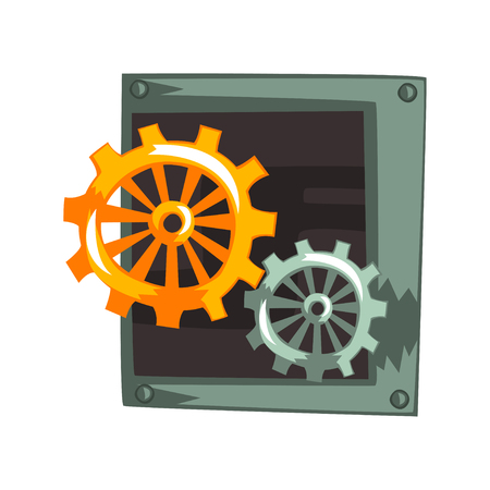 Steampunk gear wheels, antique mechanical device or mechanism vector Illustration isolated on a white background.