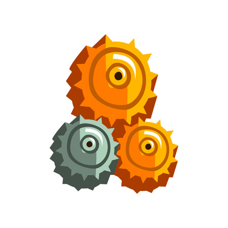 Steampunk gear wheels, antique vintage transmission cogwheels and gears vector Illustration isolated on a white background.