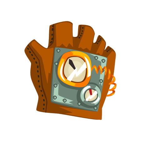Steampunk leather glove with measuring devices, antique mechanism vector Illustration isolated on a white background.