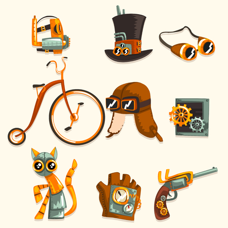 Steampunk objects and mechanism set, antique mechanical devices, clothing with gears vector Illustration isolated on a white background.