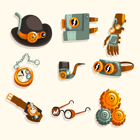 Steampunk objects set, antique mechanical devices and mechanisms vector Illustration isolated on a white background.