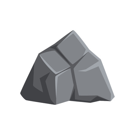 Cartoon icon of strong gray stone with lights and shadows. Solid mountain rock. Large boulder. Decorative element for landscape background of mobile video game. Vector illustration isolated on white. Ilustração
