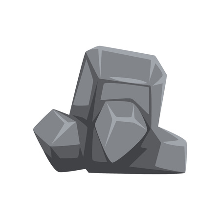 Hard stone with lights and shadows. Large piece of mountain rock. Icon of gray massive boulder. Object for map or landscape background of video game. Cartoon vector illustration isolated on white.
