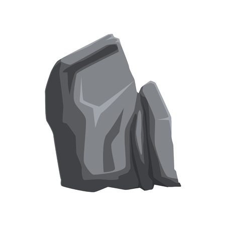 Illustration of gray solid stone. Large piece of mountain rock. Natural element. Hard mineral material. Object for creating landscape background of video game. Colorful vector icon isolated on white. Ilustração