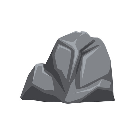 Cartoon vector illustration of heavy gray stone with lights and shadows. Solid mineral material. Large piece of mountain rock. Natural object for map or creating landscape background of video game.