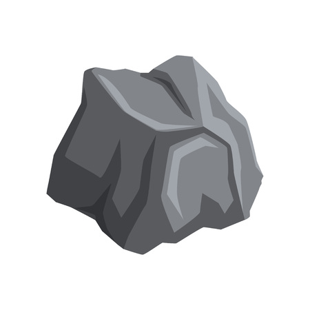 Gray massive stone with lights and shadows. Cartoon icon of large boulder. Mountain rock. Natural object. Element for creating landscape background of video game. Vector illustration isolated on white Vettoriali