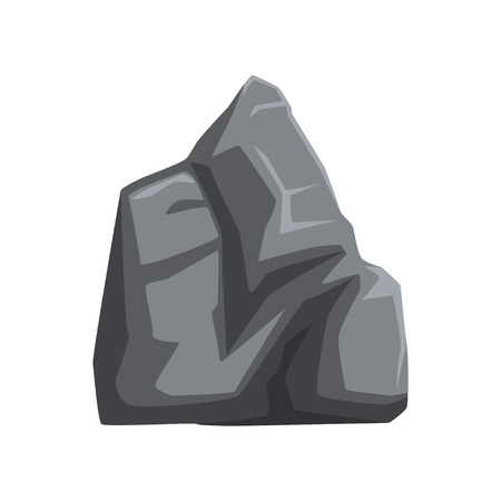 Large and heavy stone with lights and shadows. Solid mountain rock. Big gray boulder. Decorative element for map or landscape background of mobile video game. Cartoon vector icon isolated on white. Ilustrace