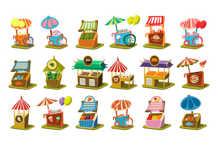 Colorful street cart shop set, retail kiosk on wheels vector Illustrations isolated on a white background. Stock Illustratie