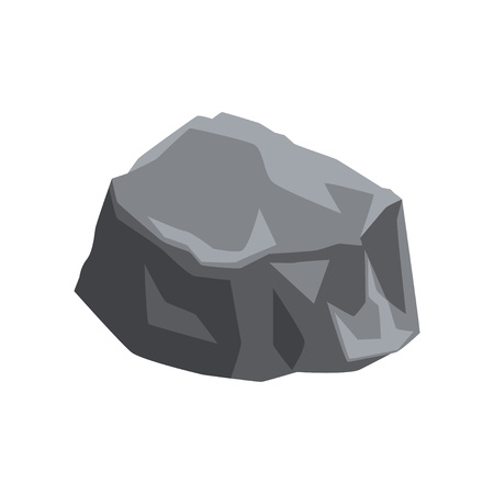 Icon of massive stone with lights and shadows. Large gray piece of mountain rock. Natural element for map or creating landscape background of video game. Cartoon vector illustration isolated on white.