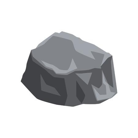 Icoon van massieve steen met lichten en schaduwen. Groot grijs stuk bergrots. Natuurlijk element voor kaart of het maken van landschapsachtergrond van videogame. Cartoon vectorillustratie geïsoleerd op wit.