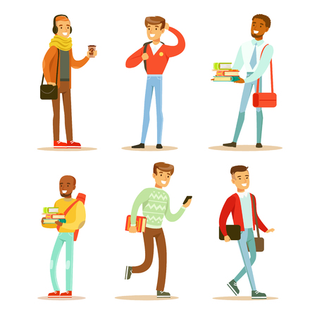 Set of young cheerful guys. University or college students with books and bags. Cartoon people characters in trendy outfit. Colorful vector illustrations in flat style isolated on white background