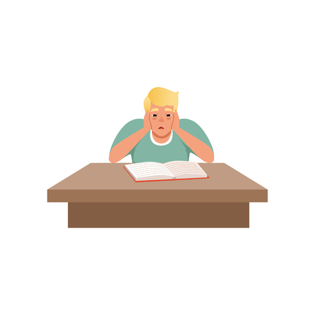 Tired young man sitting at the desk and reading a book, student studying hard before the exam vector Illustration isolated on a white background. Illustration