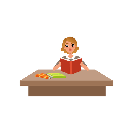 Girl sitting at the desk and reading book, student in learning process vector Illustration isolated on a white background.