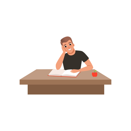 Young man sitting at the desk and reading book, student in learning process vector Illustration isolated on a white background.