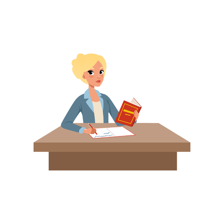 Girl sitting at the desk reading book and writing, student in learning process vector Illustration isolated on a white background.