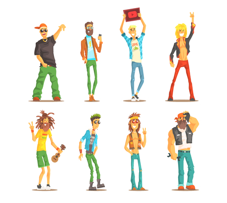 People of different subcultures. Young guys and adult mens with cultural attributes. Cartoon characters. Full-length portraits. Flat vector set. Colorful illustrations isolated on white background.  イラスト・ベクター素材