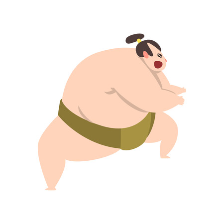 Angry Sumo wrestler character, Japanese martial art fighter vector Illustration on a white background