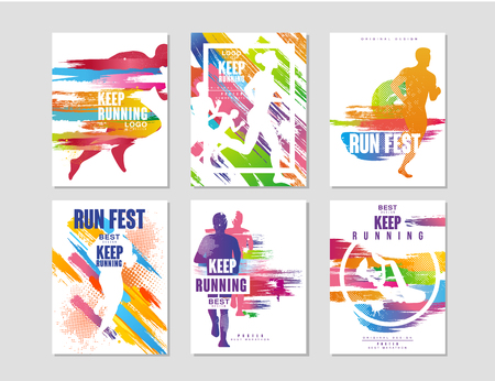Esegui set di manifesti fest, concetto di sport e competizione, maratona in esecuzione, elemento di design colorato per carta, banner, stampa, illustrazioni vettoriali di badge Vettoriali