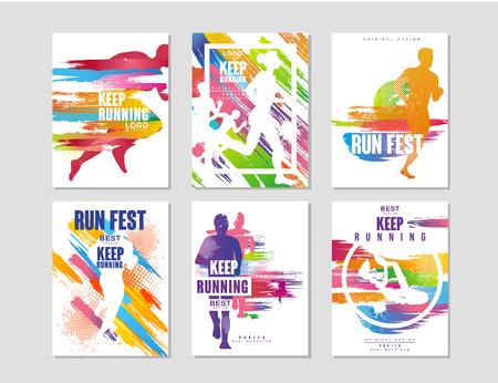 Run fest posters set, sport en competitie concept, hardloopmarathon, kleurrijk ontwerpelement voor kaart, banner, print, badge vectorillustraties Vector Illustratie