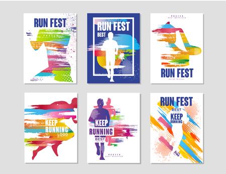 Ejecute el conjunto de carteles fest, concepto de deporte y competencia, maratón de carrera, elemento de diseño colorido para tarjeta, pancarta, impresión, vector de insignia ilustraciones
