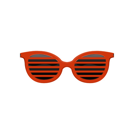 Stylish jalousie sunglasses with red frame and black lenses. Protective eyewear. Fashion accessory. Flat vector design