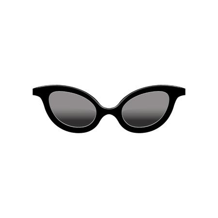 Gafas de sol estilo cat eye retro para mujer con lentes negros y montura de plástico. Accesorio de moda. Elemento de vector plano para aplicación móvil Ilustración de vector