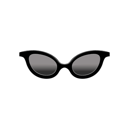 Retro womens cat eye sunglasses with black lenses and plastic frame. Fashion accessory. Flat vector element for mobile app Иллюстрация