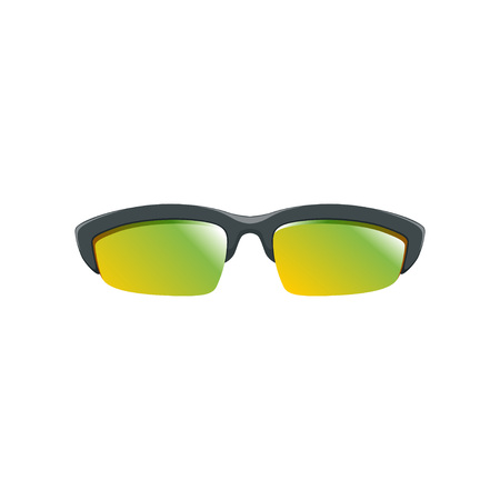 Sport sunglasses with yellow-green polarized lenses and black half frame. Flat vector icon of protective eyeglasses. Accessory for men and women