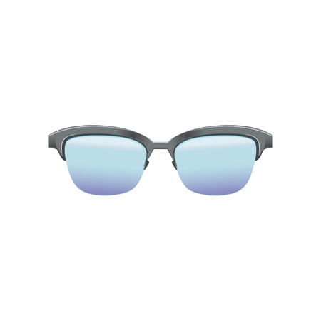 Classic clubmaster glasses with blue lenses and metallic half frame. Fashion spectacles for mens. Flat vector design for mobile app Illustration
