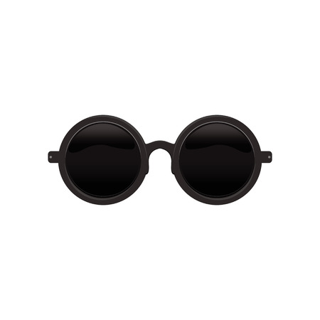 Elegant roundcircular sunglasses with black lenses and metal frame. Protective eyewear. Flat vector icon of fashion accessory