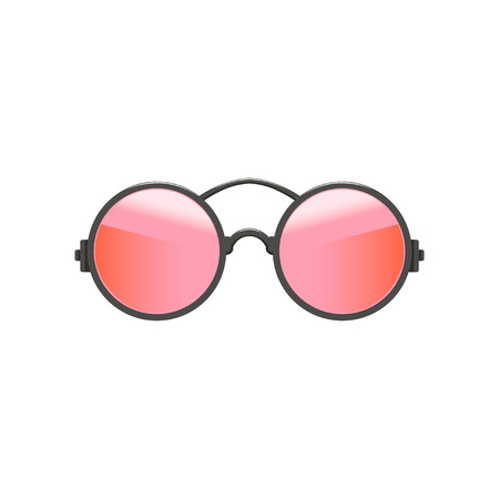 Roundcircular hipster sunglasses with red-pink lenses and gray metal frame. Fashion accessory for women. Flat vector icon Illustration