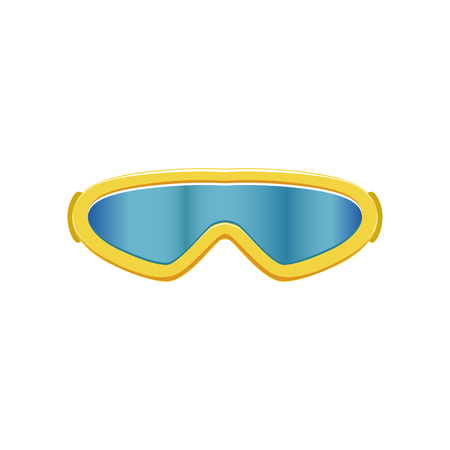 Cartoon icon of ski goggles. Winter sport glasses with blue lenses and yellow frame. Protective eyewear. Flat vector design for mobile app Illustration
