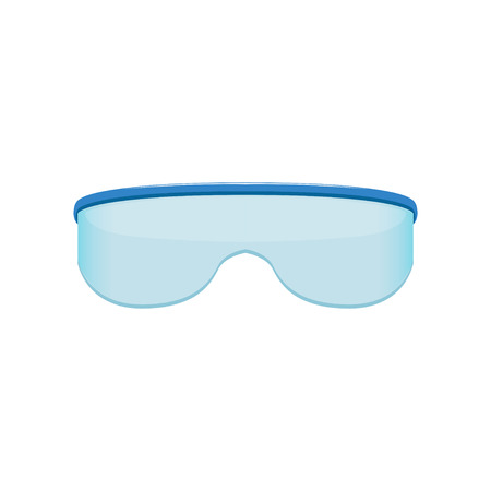 Shield style sunglasses with blue tinted lenses. Protective eyewear. Trendy fashion design. Flat vector sticker for mobile app